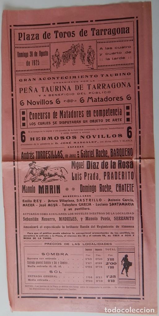 PLAZA DE TOROS TARRAGONA 1925 - ANDRÉS TORDESILLAS, DE JEREZ; GABRIEL ROCHE, BARQUERO; MIGUEL DÍAZ.. (Coleccionismo - Tauromaquia)
