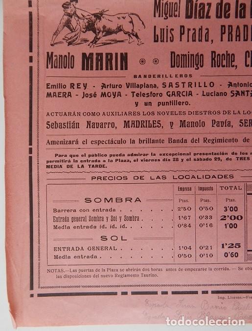Tauromaquia: Plaza de Toros Tarragona 1925 - Andrés Tordesillas, de Jerez; Gabriel Roche, Barquero; Miguel Díaz.. - Foto 2 - 158550182