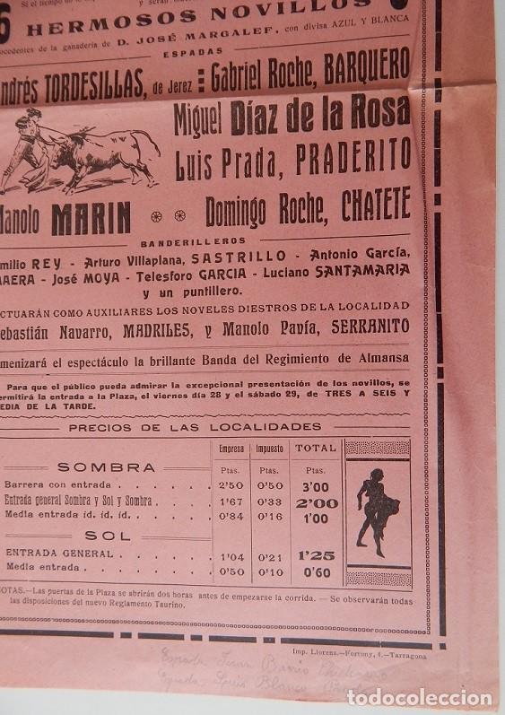 Tauromaquia: Plaza de Toros Tarragona 1925 - Andrés Tordesillas, de Jerez; Gabriel Roche, Barquero; Miguel Díaz.. - Foto 3 - 158550182