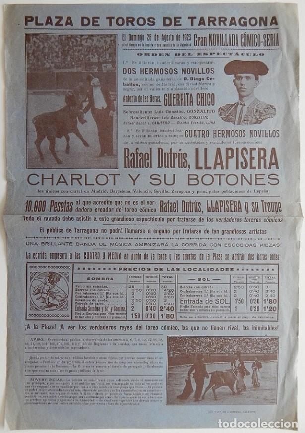 TARRAGONA 1923 / GRAN NOVILLADA CÓMICO-SERIA - RAFAEL DUTRÚS, LLAPISERA, CHARLOT Y SUS BOTONES (Coleccionismo - Tauromaquia)