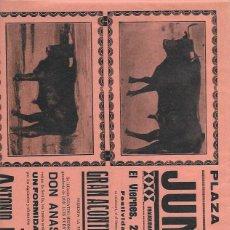Tauromaquia: CARTEL. PLAZA DE TOROS DE JUMILLA. 29 JUNIO 1934. ANASTASIO MARTÍN. ANTONIO IGLESIAS Y JOSÉ PILES. Lote 159528348