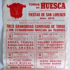 Tauromaquia: CARTEL ORIGINAL PLAZA DE TOROS DE HUESCA - AÑO 1975 - PAQUIRRI, MANZANARES, PALOMO LINARES. Lote 241353540