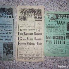 Tauromaquia: LOTE DE 3 CARTELES TOROS ELDA.. Lote 160566710