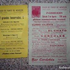Tauromaquia: 2 CARTELES DE TOROS DE NOVELDA.. Lote 160568738