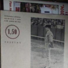 Tauromaquia: SOL Y SOMBRA Nº 1409 PEPE LUIS VAZQUEZ 5 JUNIO 1941. Lote 162446146