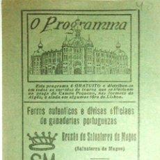 Tauromaquia: PROGRAMA DE TOROS. PLAZA DE TOROS DE CAMPO PEQUENO ( PORTUGAL ). 1925. LEER.. Lote 162524126