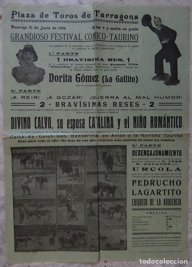 CARTEL TAURINO / PLAZA DE TOROS TARRAGONA 21 JUNIO 1936 - DORITA GÓMEZ (LA GALLITO) - NICANOR VILLA (Coleccionismo - Tauromaquia)