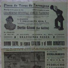 Tauromaquia: CARTEL TAURINO / PLAZA DE TOROS TARRAGONA 21 JUNIO 1936 - DORITA GÓMEZ (LA GALLITO) - NICANOR VILLA. Lote 163979646