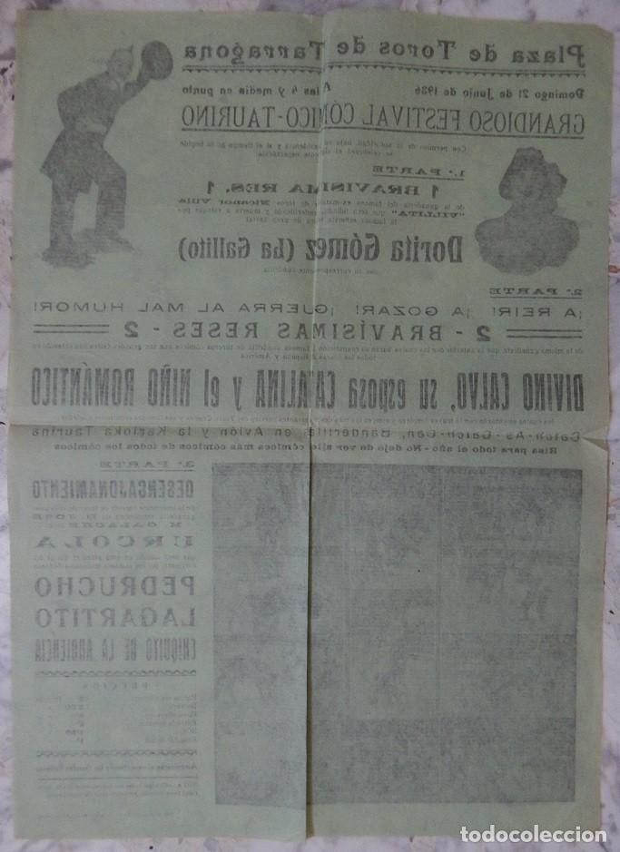 Tauromaquia: Cartel taurino / Plaza de toros Tarragona 21 Junio 1936 - Dorita Gómez (La Gallito) - Nicanor Villa - Foto 2 - 163979646