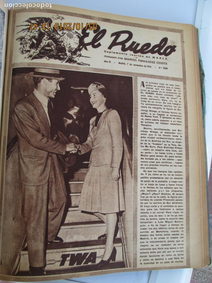 Tauromaquia: EL RUEDO AÑO 1946 23 REVISTAS ENCUADERNADAS DESDE JULIO 1946 HASTA DICIEMBRE BUEN ESTADO - Foto 13 - 164599186