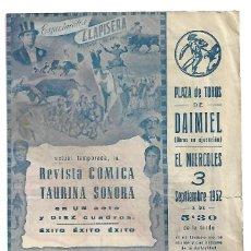 Tauromaquia: C150- PROGRAMA ESPECTACULO COMICO TAURINO MUSICAL - EN DAIMIEL CARRUSEL 1952 DE LLAPISERA . Lote 165092666
