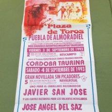 Tauromaquia: C150- CARTEL TAURINO PLAZA DE TOROS DE PUEBLA DE ALMORADIEL DEL 3 - 9 - 1993. Lote 165102822