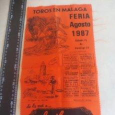 Tauromaquia: PAÑUELO DE TOROS, CARTEL TAURINO 1987 TOROS EN MÁLAGA FERIA DE AGOSTO. Lote 165277974