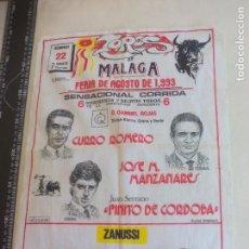 Tauromaquia: PAÑUELO DE TOROS, CARTEL TAURINO 1993 MÁLAGA CURRO ROMERO, MANZANARES, FINITO DE CORDOBA. Lote 165279482