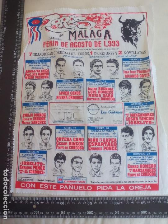 PAÑUELO DE TOROS, CARTEL TAURINO 1993 MÁLAGA FERIA DE AGOSTO (Coleccionismo - Tauromaquia)
