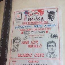 Stierkampf - PAÑUELO DE TOROS, CARTEL TAURINO 1993 MÁLAGA FERIA AGOSTO NOVILLADA JUAN JOSE TRUJILLO,RICARDO ORTIZ - 165280998