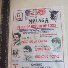 Stierkampf - PAÑUELO DE TOROS, CARTEL TAURINO 1993 MÁLAGA FERIA AGOSTO NIÑO DE LA CAPEA,ESPARTACO PONCE ENRIQUE - 165290486