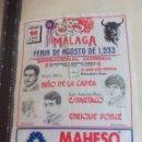 Tauromaquia: PAÑUELO DE TOROS, CARTEL TAURINO 1993 MÁLAGA FERIA AGOSTO NIÑO DE LA CAPEA,ESPARTACO PONCE ENRIQUE. Lote 165290554