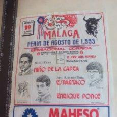 Stierkampf - PAÑUELO DE TOROS, CARTEL TAURINO 1993 MÁLAGA FERIA AGOSTO NIÑO DE LA CAPEA,ESPARTACO PONCE ENRIQUE - 165290554