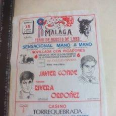 Tauromaquia: PAÑUELO DE TOROS, CARTEL TAURINO 1993 MÁLAGA FERIA AGOSTO JAVIER CONDE, FRANCISCO RIVERA ORDOÑEZ. Lote 165290826