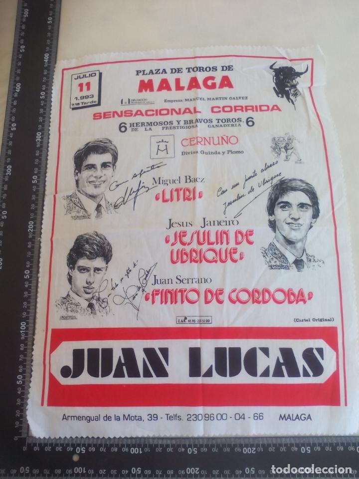 PAÑUELO DE TOROS, CARTEL TAURINO 1993 MÁLAGA FERIA AGOSTO LITRI,JESULIN DE UBRIQUE,FINITO DE CORDOBA (Coleccionismo - Tauromaquia)