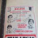 Tauromaquia: PAÑUELO DE TOROS, CARTEL TAURINO 1993 MÁLAGA FERIA AGOSTO LITRI,JESULIN DE UBRIQUE,FINITO DE CORDOBA. Lote 165291418