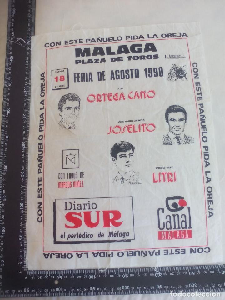 PAÑUELO DE TOROS, CARTEL TAURINO 1990 MÁLAGA FERIA AGOSTO ORTEGA CANO, JOSELITO, LITRI (Coleccionismo - Tauromaquia)