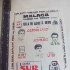 Tauromaquia: PAÑUELO DE TOROS, CARTEL TAURINO 1990 MÁLAGA FERIA AGOSTO ORTEGA CANO, JOSELITO, LITRI. Lote 165291518