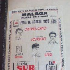 Stierkampf - PAÑUELO DE TOROS, CARTEL TAURINO 1990 MÁLAGA FERIA AGOSTO ORTEGA CANO, JOSELITO, LITRI - 165291570