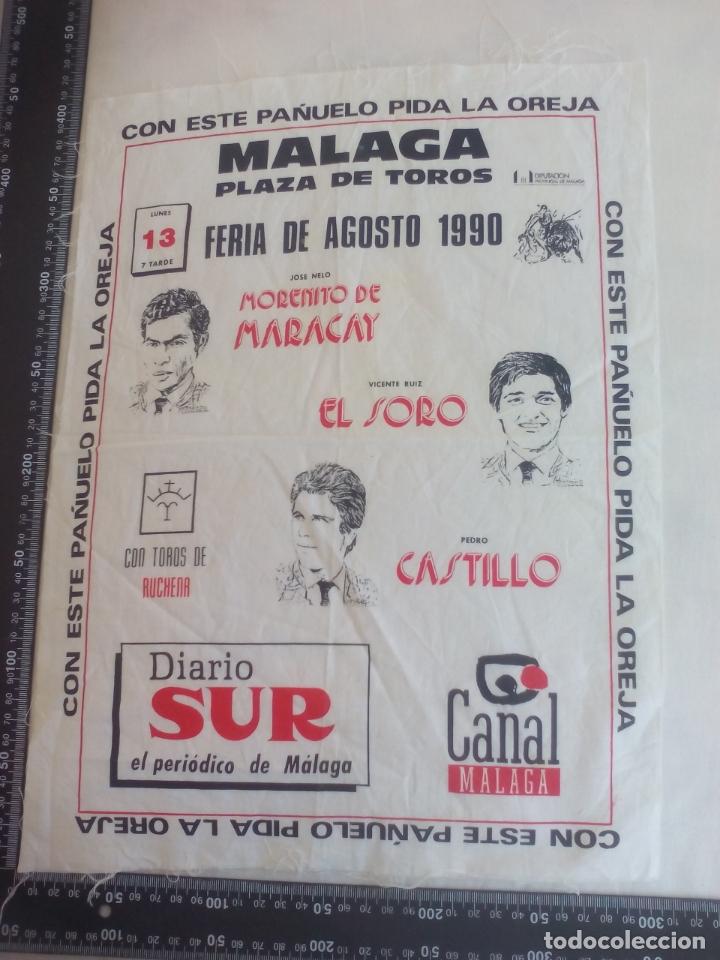 PAÑUELO DE TOROS, CARTEL TAURINO 1990 MÁLAGA FERIA AGOSTO EL SORO, CASTILLO, MORENITO DE MARACAY (Coleccionismo - Tauromaquia)