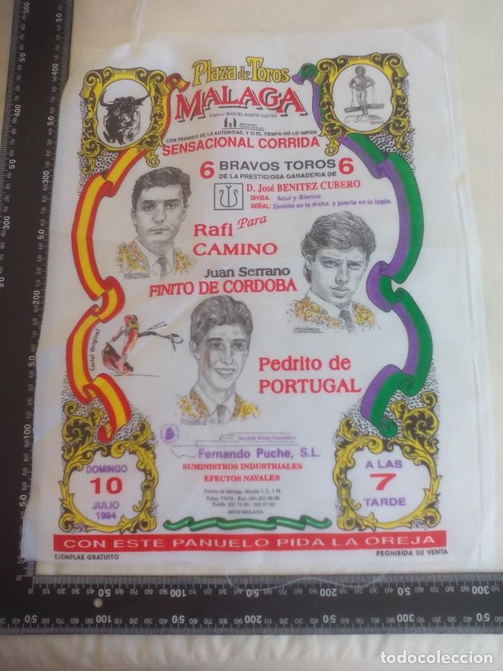 PAÑUELO DE TOROS, CARTEL TAURINO 1994 MÁLAGA RAFI CAMINO, FINITO DE CORDOBA PEDRITO DE PORTUGAL (Coleccionismo - Tauromaquia)