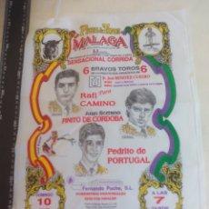 Tauromaquia: PAÑUELO DE TOROS, CARTEL TAURINO 1994 MÁLAGA RAFI CAMINO, FINITO DE CORDOBA PEDRITO DE PORTUGAL. Lote 165292270