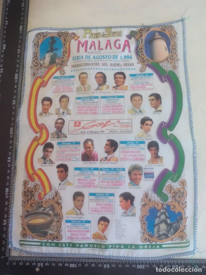 PAÑUELO DE TOROS, CARTEL TAURINO 1994 MÁLAGA FERIA AGOSTO (Coleccionismo - Tauromaquia)