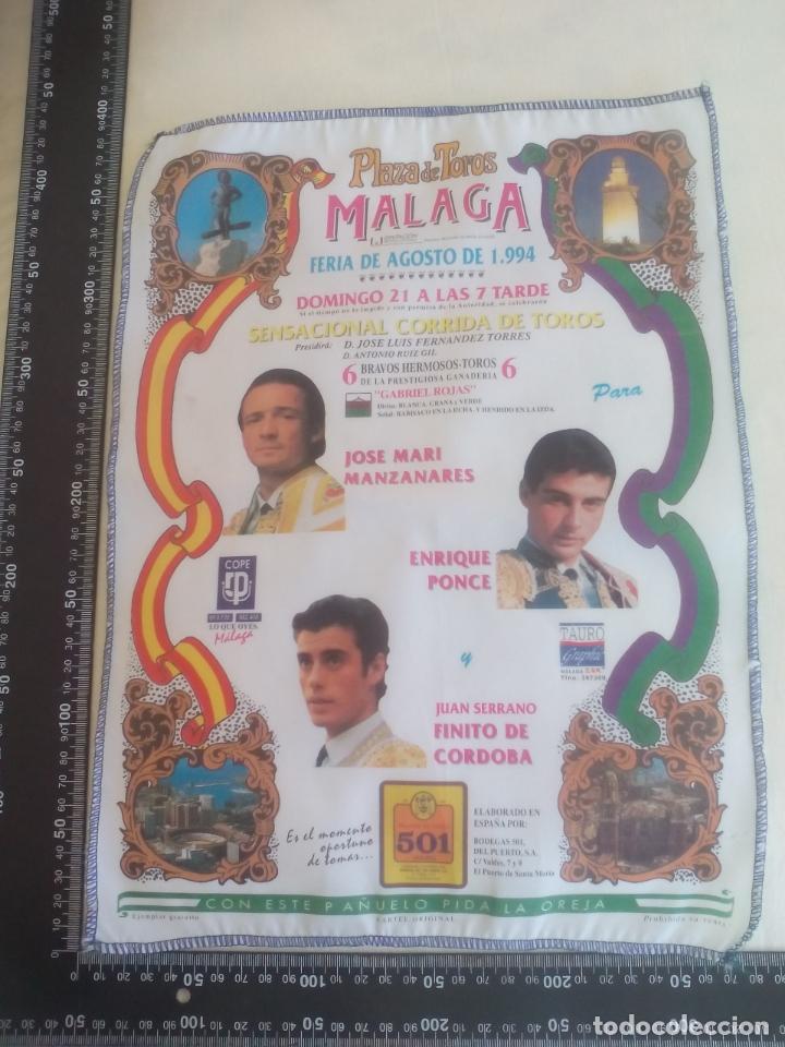 PAÑUELO DE TOROS, CARTEL TAURINO 1994 MÁLAGA FERIA AGOSTO JOSE MARIA MANZANARES,ENRIQUE PONCE FINITO (Coleccionismo - Tauromaquia)