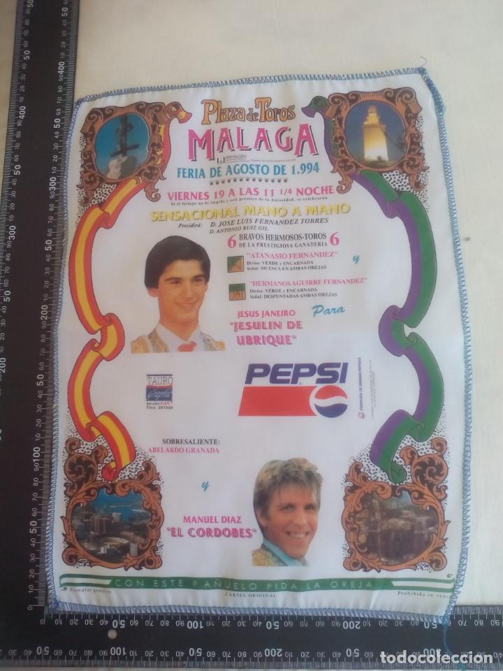 PAÑUELO DE TOROS, CARTEL TAURINO 1994 MÁLAGA FERIA AGOSTO JESULIN DE UBRIQUE, EL CORDOBES (Coleccionismo - Tauromaquia)