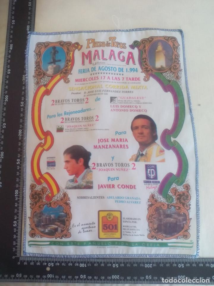 PAÑUELO DE TOROS, CARTEL TAURINO 1994 MÁLAGA FERIA AGOSTO JOSE MARIA MANZANARES, JAVIER CONDE (Coleccionismo - Tauromaquia)