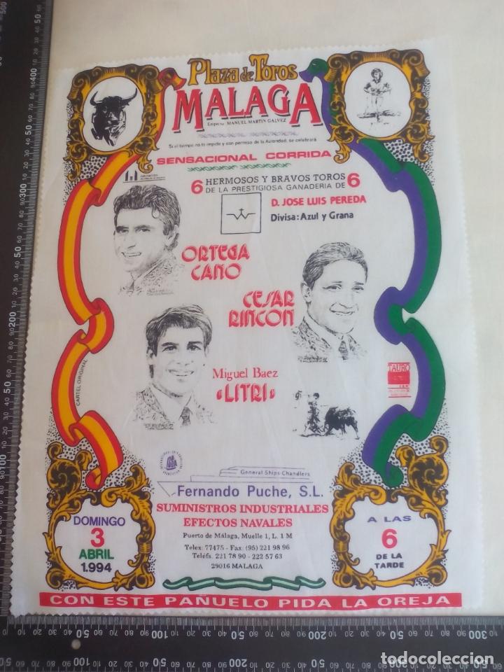 PAÑUELO DE TOROS, CARTEL TAURINO 1994 MÁLAGA ORTEGA CANO, CESAR RINCON, MIGUEL BAEZ LITRI (Coleccionismo - Tauromaquia)