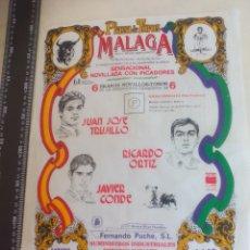 Tauromaquia: PAÑUELO DE TOROS, CARTEL TAURINO 1994 MÁLAGA JUAN JOSE TRUJILLO, RICARDO ORTIZ, JAVIER CONDE. Lote 165293830