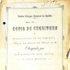 Tauromaquia: CADIZ. 1924. COPIA DE ESCRITURA DE PLAZA DE TOROS DE CADIZ. 14 DE MAYO DE 1924.. Lote 165462386