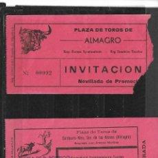 Tauromaquia: C150- 2 ANTIGUAS ENTRADAS DE TOROS, PLAZA DE TOROS DE ALMAGRO- PUEBLA DE D.RODRIGO. Lote 165645734