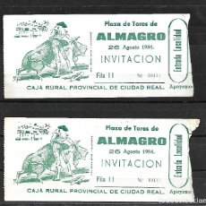 Tauromaquia: C150- 2 ANTIGUAS ENTRADAS DE LA , PLAZA DE TOROS DE ALMAGRO- 26 - 8 - 1984 -EMPRESA BALAÑAS S.A.. Lote 165648802