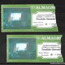 Tauromaquia: C150- 2 ANTIGUAS ENTRADAS DE LA PLAZA DE TOROS DE ALMAGRO- 21 - 8 - 1992 - DE 400 PTAS. . Lote 165669890
