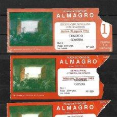Tauromaquia: C150- 3 ANTIGUAS ENTRADAS DE LA PLAZA DE TOROS DE ALMAGRO- 25 - 8 - 1993 - DE 3.500 PTAS.. Lote 165670642