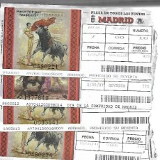 Tauromaquia: C150-LOTE DE 25 ANTIGUAS ENTRADA LA PLAZA DE TOROS DE LAS VENTAS MADRID-FECHAS DISTINTAS-DE 5-1997. Lote 166637282