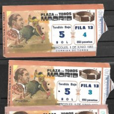Tauromaquia: C150-LOTE DE 3 ANTIGUAS ENTRADA LA PLAZA DE TOROS DE LAS VENTAS -1983 DE 1.825 Y 650 PTAS.. Lote 166671502