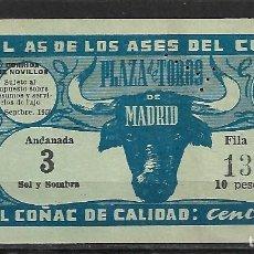 Tauromaquia: C150- ANTIGUA ENTRADA LA PLAZA DE TOROS DE LAS VENTAS- DEL 28- 9 - 1950 DE 10 PTAS.. Lote 166679994