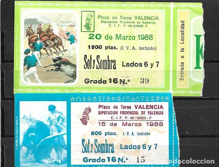 C150- LOTE DE - 2 ANTIGUAS ENTRADAS LA PLAZA DE TOROS DE VALENCIA DE MARZO DE 1988 - (Coleccionismo - Tauromaquia)