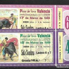 Tauromaquia: C150- LOTE DE - 2 ANTIGUAS ENTRADAS LA PLAZA DE TOROS DE VALENCIA DE MARZO DE 1989 - . Lote 166725954