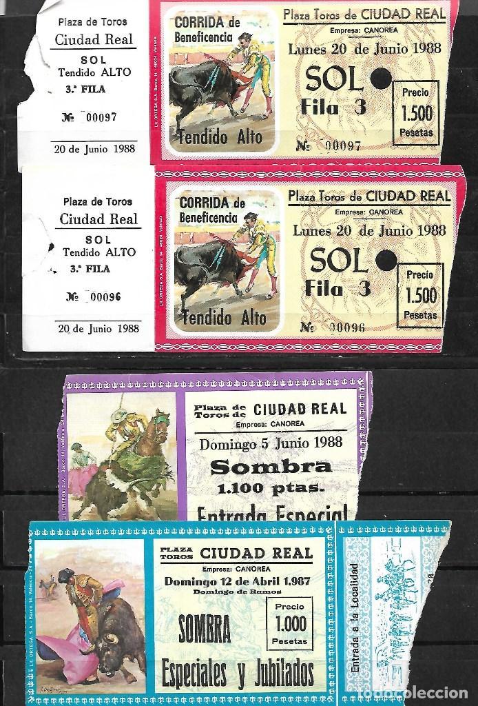 C150- LOTE DE - 5 ANTIGUAS ENTRADAS LA PLAZA DE TOROS DE CIUDAD REAL DE 1987 -1988 (Coleccionismo - Tauromaquia)