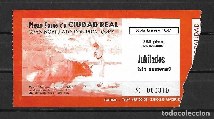 Tauromaquia: C150- LOTE DE - 5 ANTIGUAS ENTRADAS LA PLAZA DE TOROS DE CIUDAD REAL DE 1987 -1988 - Foto 2 - 166749278